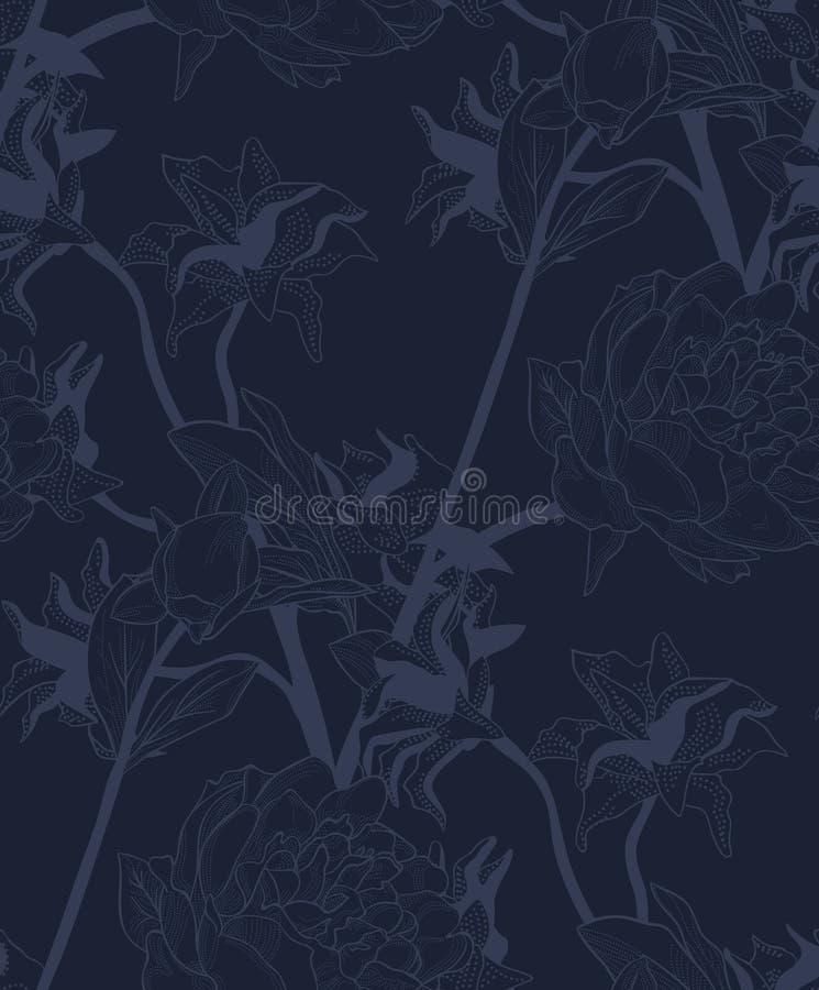 Διανυσματικό μπλε άνευ ραφής σχέδιο με τα συρμένα λουλούδια ελεύθερη απεικόνιση δικαιώματος