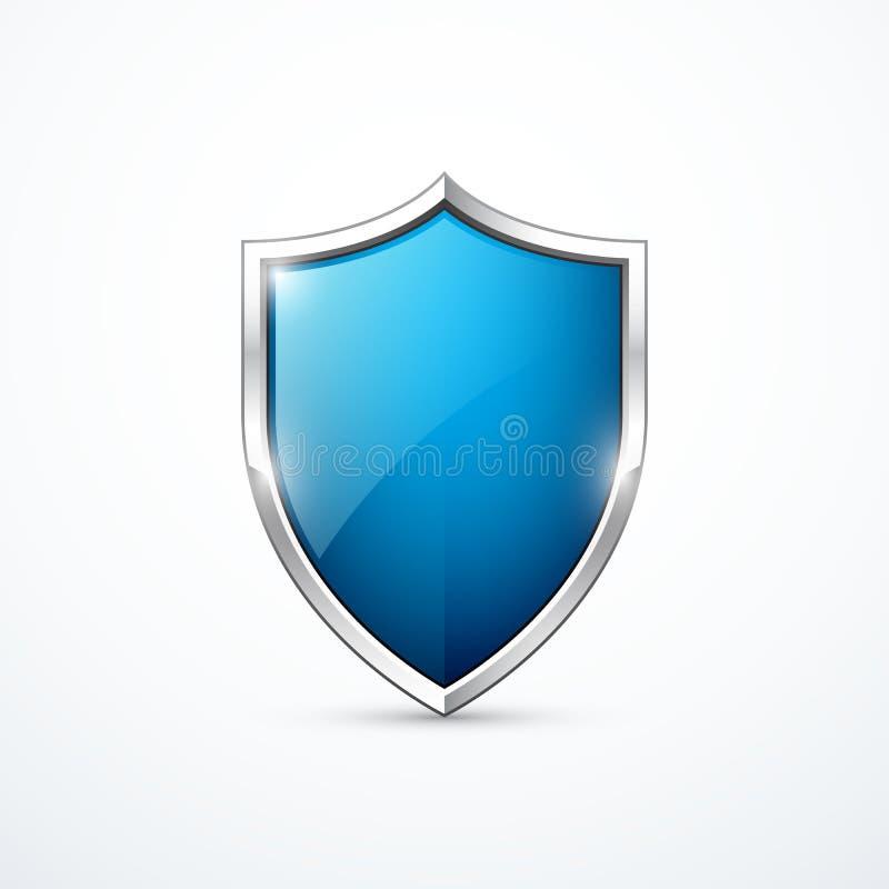 Διανυσματικό μπλε εικονίδιο ασπίδων ελεύθερη απεικόνιση δικαιώματος