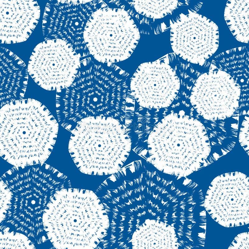 Διανυσματικό μπλε και άσπρο hexagon Κατάλληλος για το κλωστοϋφαντουργικό προϊόν, το περικάλυμμα δώρων και την ταπετσαρία διανυσματική απεικόνιση
