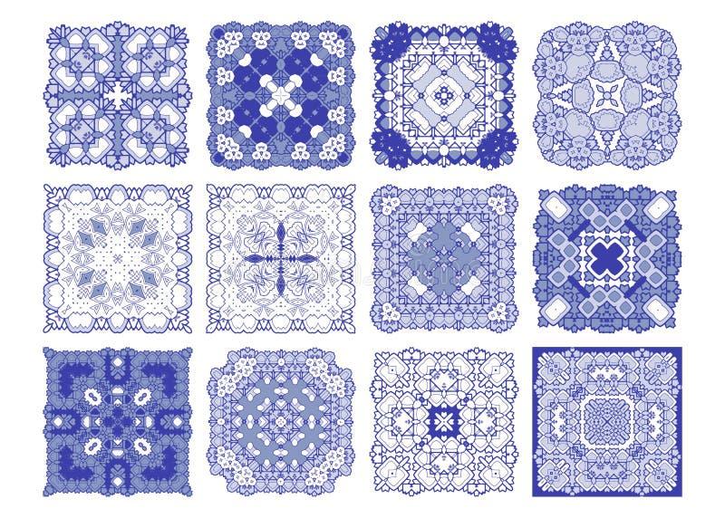 Διανυσματικό μπλε σχέδιο κεραμιδιών, floral μωσαϊκό της Λισσαβώνας ελεύθερη απεικόνιση δικαιώματος
