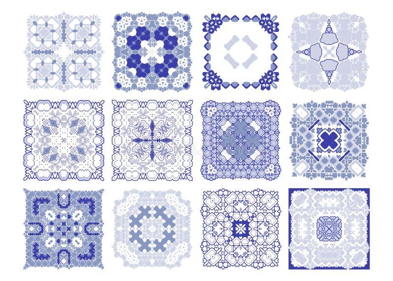 Διανυσματικό μπλε σχέδιο κεραμιδιών, floral μωσαϊκό της Λισσαβώνας διανυσματική απεικόνιση