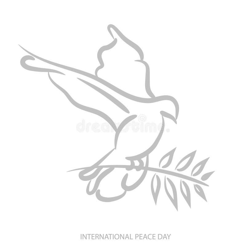 Διανυσματικό μπλε υπόβαθρο για τη διεθνή ημέρα της ειρήνης Απεικόνιση έννοιας με το περιστέρι της ειρήνης, κλαδί ελιάς Διεθνής ει διανυσματική απεικόνιση