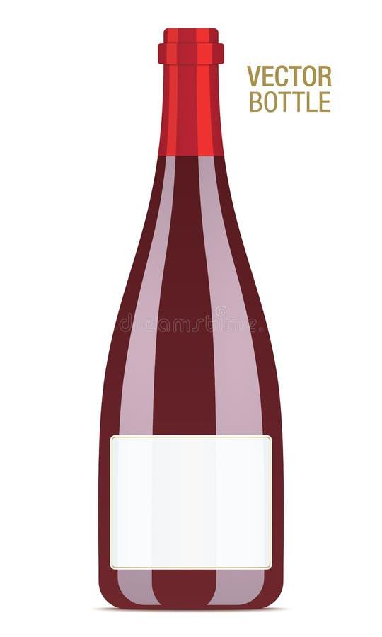 Διανυσματικό μπουκάλι κόκκινου κρασιού διανυσματική απεικόνιση