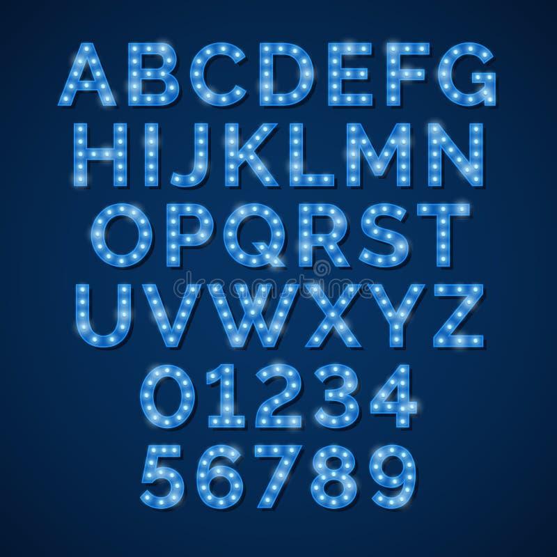 Διανυσματικό μπλε αλφάβητο λαμπτήρων νέου, πηγή για τα σημάδια κινηματογράφων, κινηματογράφων και τσίρκων απεικόνιση αποθεμάτων