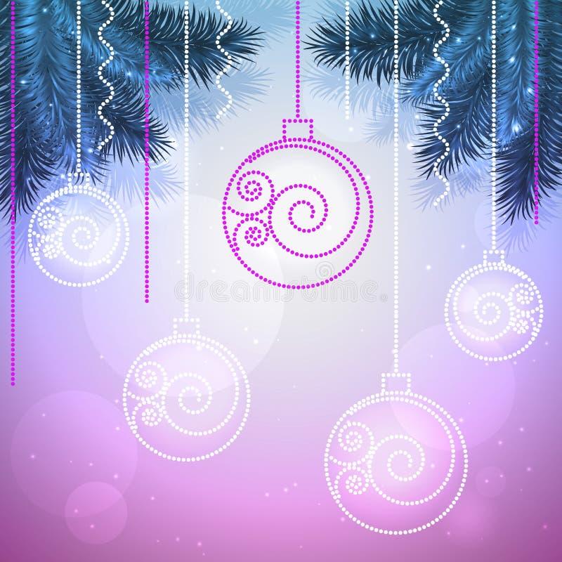 Διανυσματικό μπλε και ιώδες υπόβαθρο διακοπών με τις σφαίρες Χριστουγέννων διανυσματική απεικόνιση