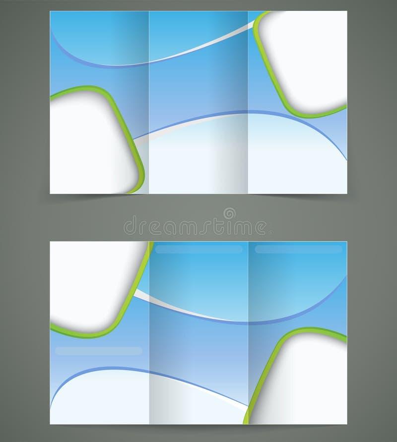 Διανυσματικό μπλε σχέδιο σχεδιαγράμματος φυλλάδιων, επιχείρηση τρία απεικόνιση αποθεμάτων