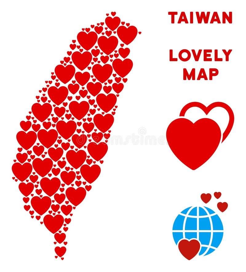Διανυσματικό μωσαϊκό χαρτών νησιών της Ταϊβάν αγάπης των καρδιών διανυσματική απεικόνιση
