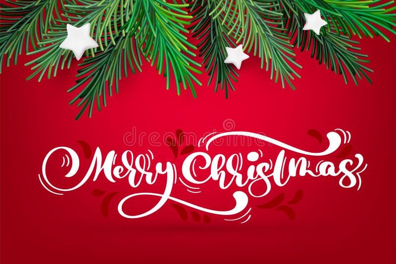 Διανυσματικό νέο στεφάνι έτους και Χριστουγέννων με το άσπρο κείμενο Χαρούμενα Χριστούγεννας καλλιγραφίας Παραδοσιακοί χειμερινοί διανυσματική απεικόνιση