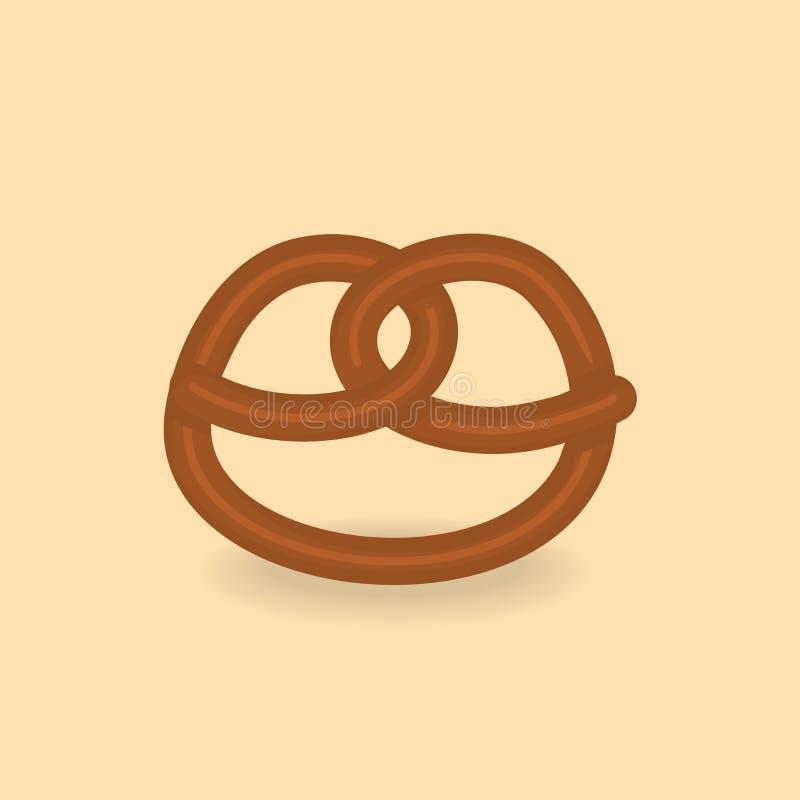 Διανυσματικό νόστιμο pretzel στο ελαφρύ υπόβαθρο απεικόνιση αποθεμάτων