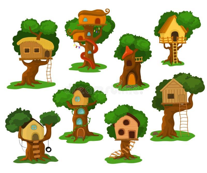 Διανυσματικό ξύλινο θέατρο σπιτιών δέντρων που στηρίζεται στο δρύινο δέντρο για τα παιδιά στο σύνολο απεικόνισης κήπων ή πάρκων t απεικόνιση αποθεμάτων