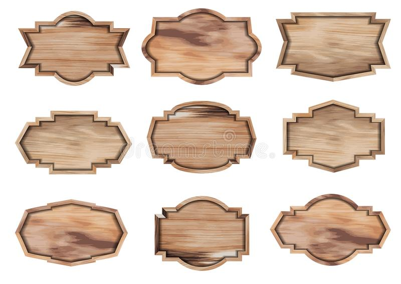 Διανυσματικό ξύλινο σημάδι που απομονώνεται στο λευκό ελεύθερη απεικόνιση δικαιώματος