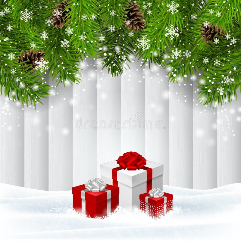 Διανυσματικό ξύλινο υπόβαθρο Χριστουγέννων με τα κόκκινα giftboxes απεικόνιση αποθεμάτων