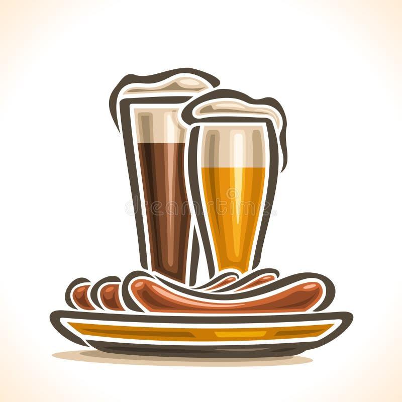 Διανυσματικό λογότυπο για την μπύρα και τα λουκάνικα ελεύθερη απεικόνιση δικαιώματος