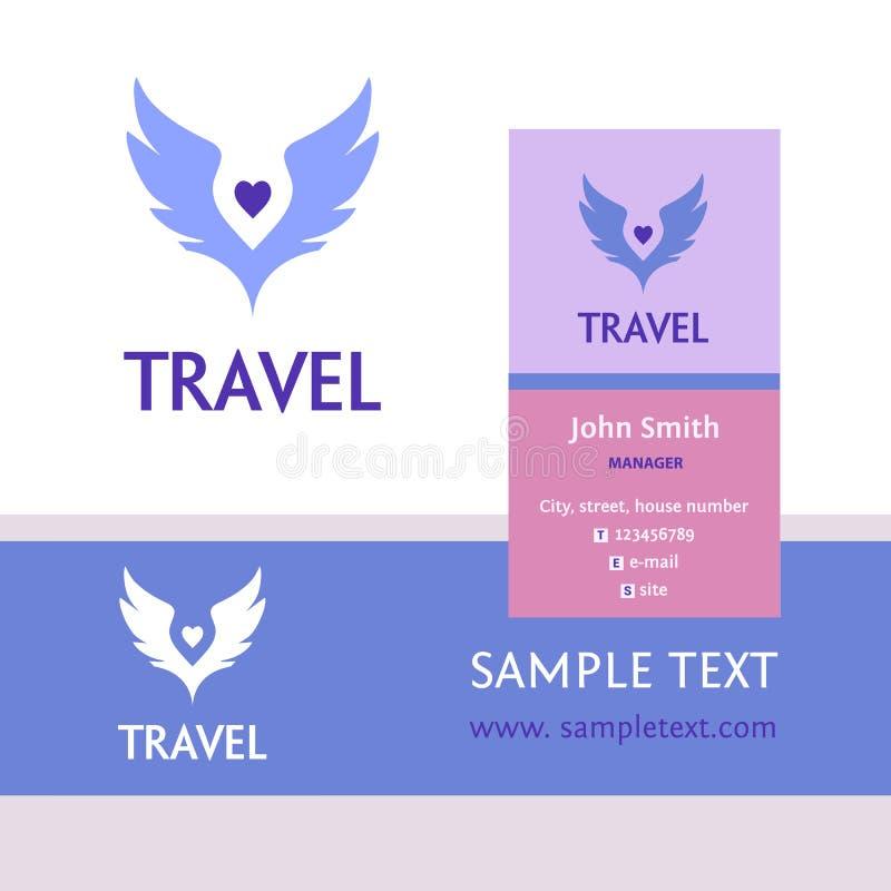 Διανυσματικό λογότυπο για το ταξίδι τουριστών Φτερά χρώματος ο ουρανός οικονομική σειρά επαγγελματικών καρτών διανυσματική απεικόνιση
