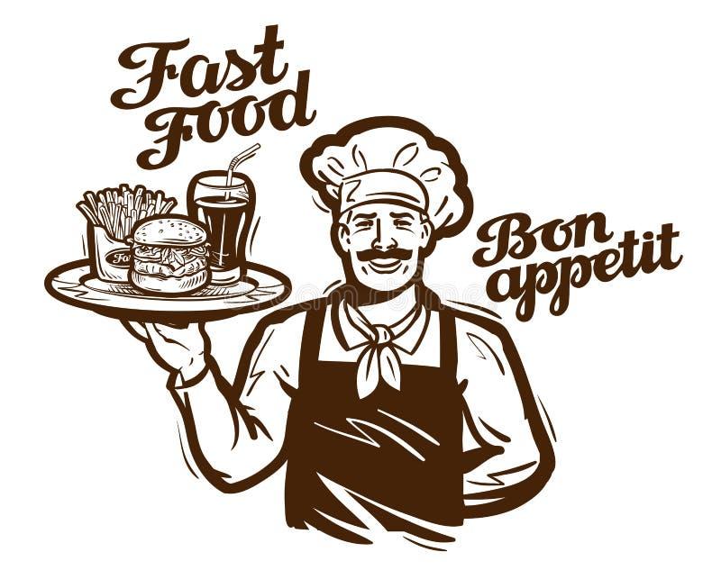 Διανυσματικό λογότυπο γρήγορου φαγητού εστιατόριο, καφές, εικονίδιο γευματιζόντων ελεύθερη απεικόνιση δικαιώματος