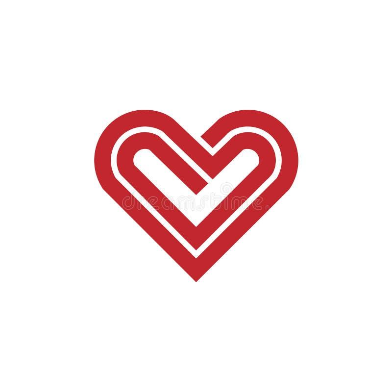 Διανυσματικό λογότυπο γραμμών καρδιών διανυσματική απεικόνιση