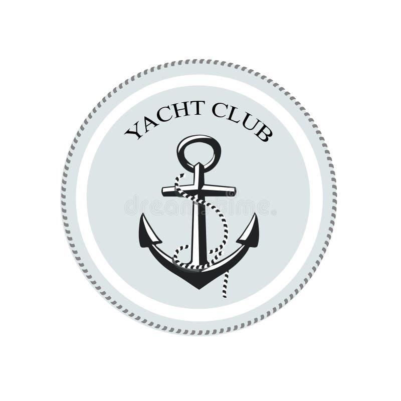 Διανυσματικό λογότυπο λεσχών γιοτ, άγκυρα σε ένα λευκό ελεύθερη απεικόνιση δικαιώματος