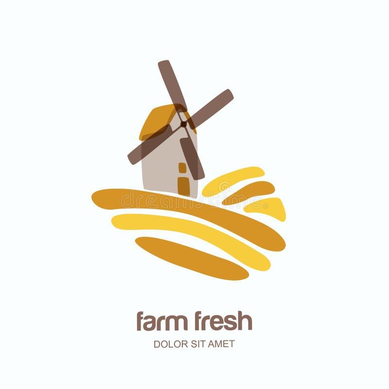 Διανυσματικό λογότυπο, ετικέτα, έμβλημα με τον ανεμόμυλο στον τομέα σίτου Τοπίο που απομονώνεται αγροτικό διανυσματική απεικόνιση