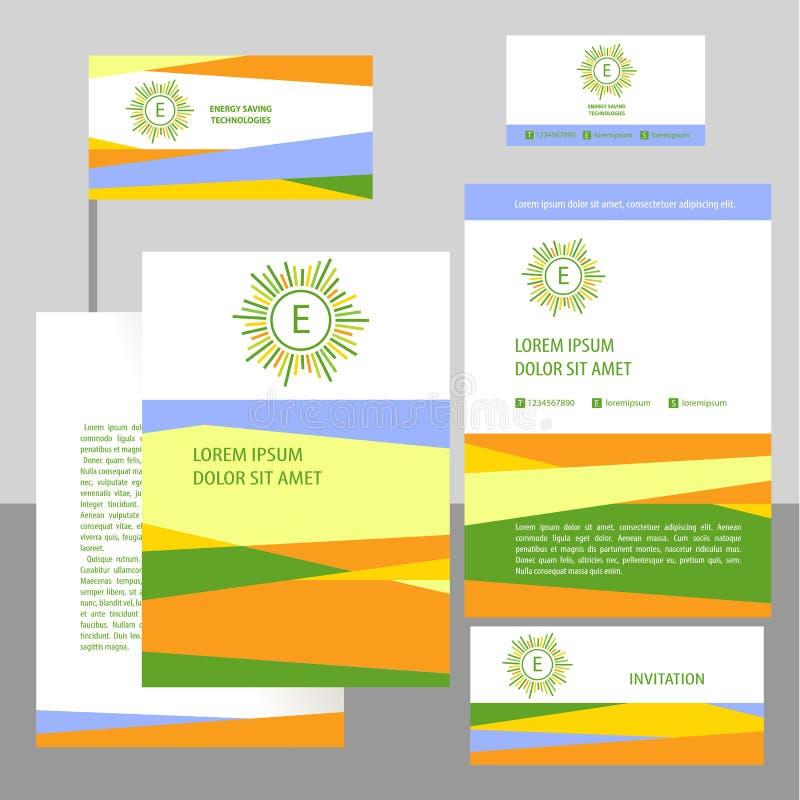 Διανυσματικό λογότυπο με το γράμμα Ε Έμβλημα και σημαία με τα σύμβολα έννοιας των φυσικών πόρων και της ενέργειας eco Πόροι ενέργ απεικόνιση αποθεμάτων