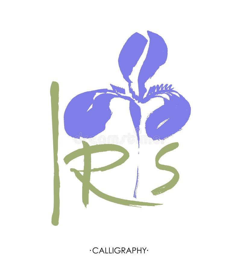 Διανυσματικό λογότυπο λουλουδιών λεπτομερές ανασκόπηση floral διάνυσμα σχεδίων Τυποποιημένη καλλιγραφική ίριδα μελανιού απεικόνιση αποθεμάτων