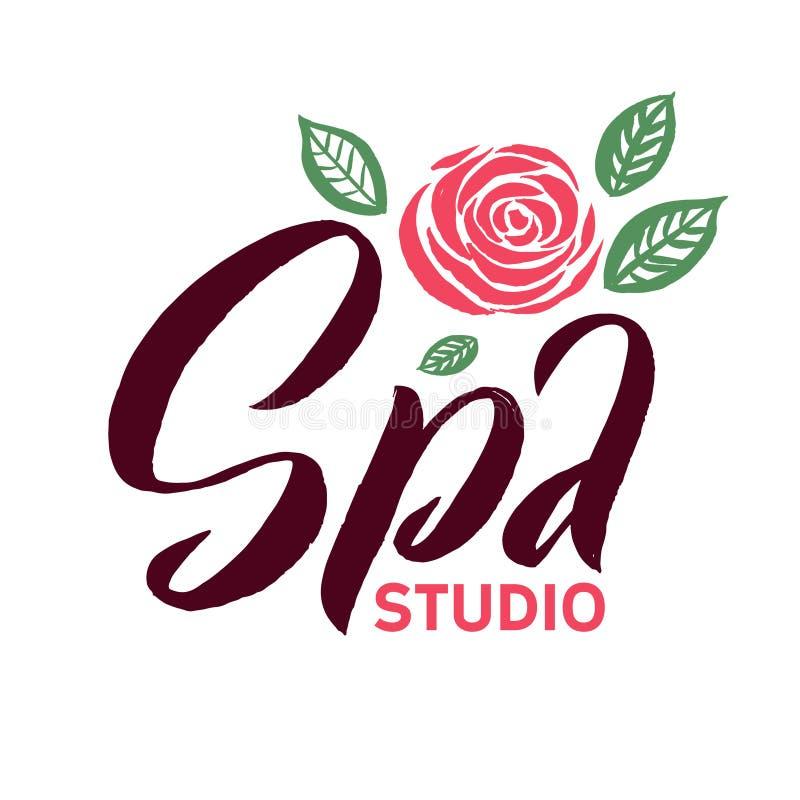 Διανυσματικό λογότυπο στούντιο SPA Το κτύπημα ρόδινο αυξήθηκε απεικόνιση λουλουδιών Εγγραφή εμπορικών σημάτων διανυσματική απεικόνιση