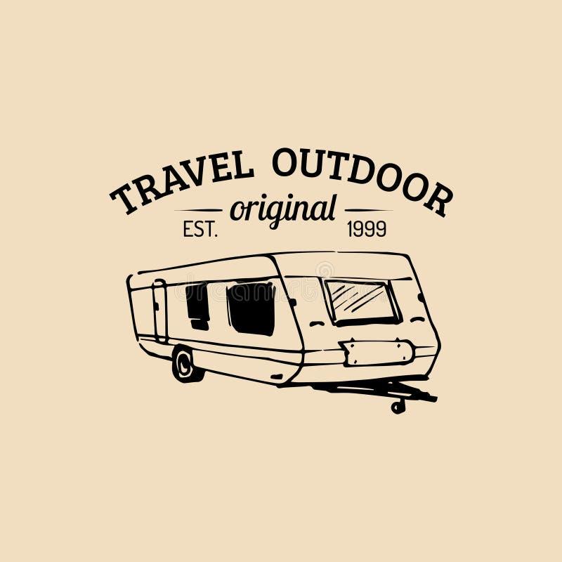 Διανυσματικό λογότυπο στρατόπεδων Σημάδι τουρισμού με συρμένη τη χέρι απεικόνιση ρυμουλκών Αναδρομικό έμβλημα hipster, ετικέτα τω διανυσματική απεικόνιση
