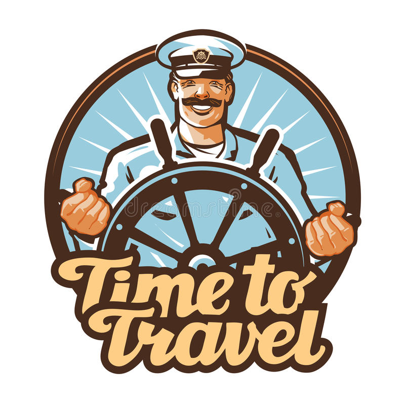 Διανυσματικό λογότυπο ταξιδιού ταξίδι, ναυτικός, εικονίδιο καπετάνιου σκαφών διανυσματική απεικόνιση