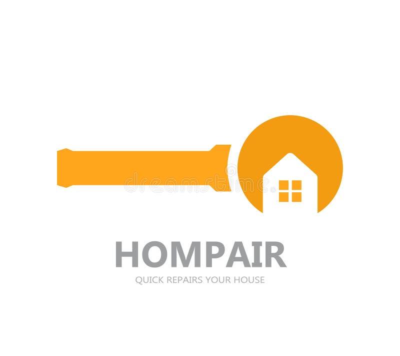 Διανυσματικό λογότυπο της επισκευής των σπιτιών απεικόνιση αποθεμάτων