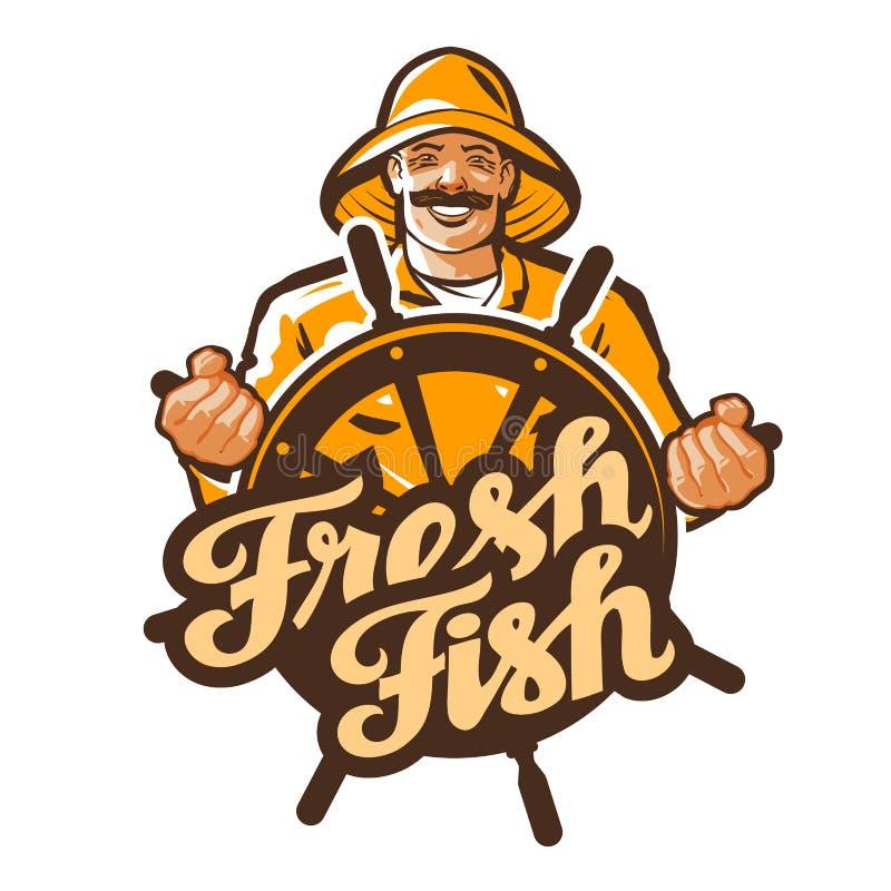 Διανυσματικό λογότυπο ψαράδων ψαράς, ψαράς, εικονίδιο αλιείας απεικόνιση αποθεμάτων