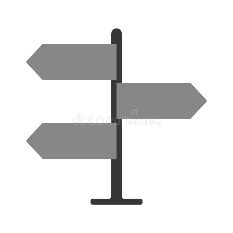Διανυσματικό οδικό σημάδι κατεύθυνσης εικονιδίων γκρίζο με το σημάδι οδικής κυκλοφορίας βελών Κενός πίνακας με τη θέση για το κεί απεικόνιση αποθεμάτων