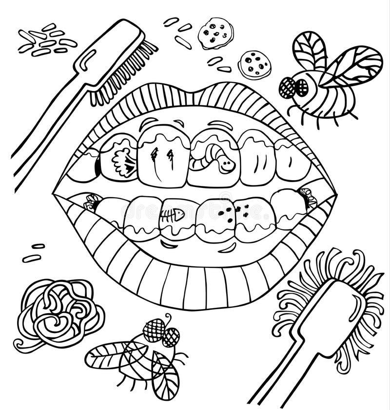 Διανυσματικό οδοντικό χιούμορ υγιεινής με το στόμα που παρουσιάζει βρώμικα δόντια με τα σκουλήκια και την πινακίδα και τα λαχανικ απεικόνιση αποθεμάτων