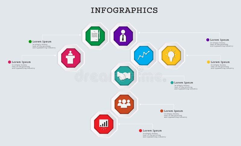 Διανυσματικό οκτάγωνο infographic Μπορέστε να χρησιμοποιήσετε για το επιχειρησιακό πρότυπο σύγχρονος απεικόνιση αποθεμάτων