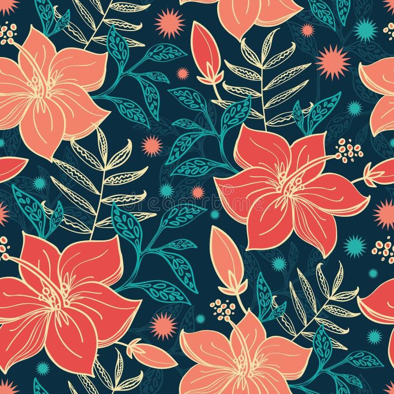 Διανυσματικό δονούμενο τροπικό Hibiscus ανθίζει άνευ ραφής διανυσματική απεικόνιση
