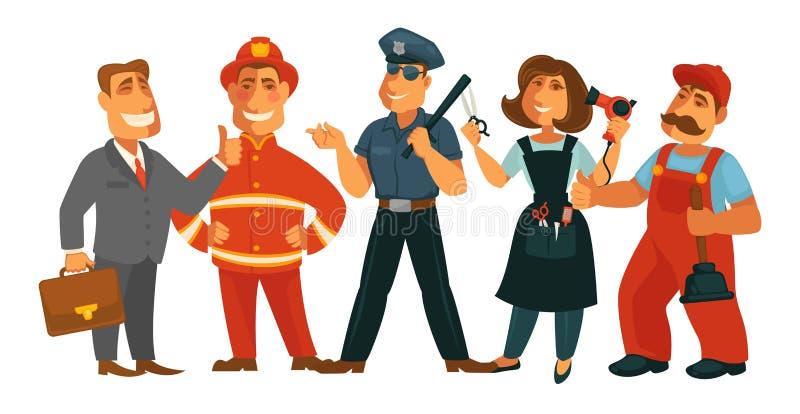 Διανυσματικό οριζόντια απομονωμένο σύνολο πυροσβεστών, αστυνομικών, επιχειρηματιών και κομμωτών επαγγελμάτων ανθρώπων διανυσματική απεικόνιση