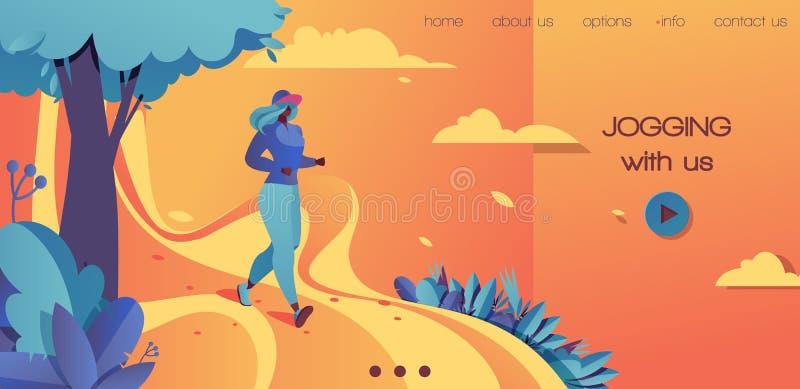 Διανυσματικό οριζόντιο προσγειωμένος πρότυπο σελίδων στο τολμηρό πορτοκάλι χρωμάτων, μπλε και κίτρινος Νέο γυναικών στο θερινό το απεικόνιση αποθεμάτων