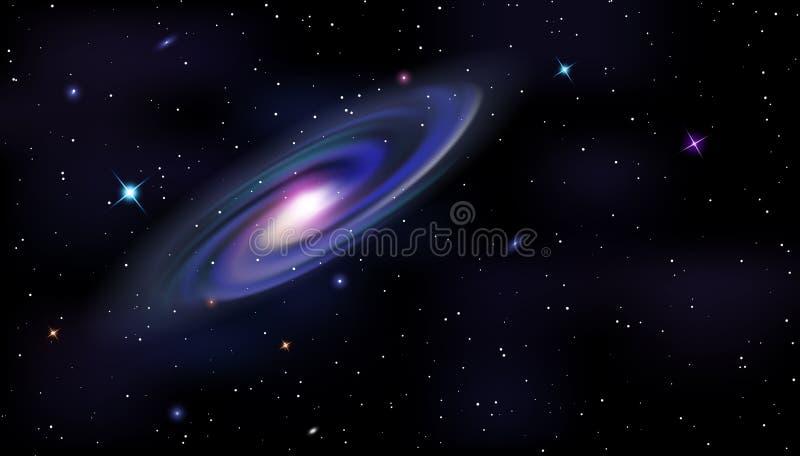 Διανυσματικό οριζόντιο πρότυπο του κοσμικού σπειροειδούς γαλαξία, λάμποντας αστέρια στο νυχτερινό ουρανό διανυσματική απεικόνιση