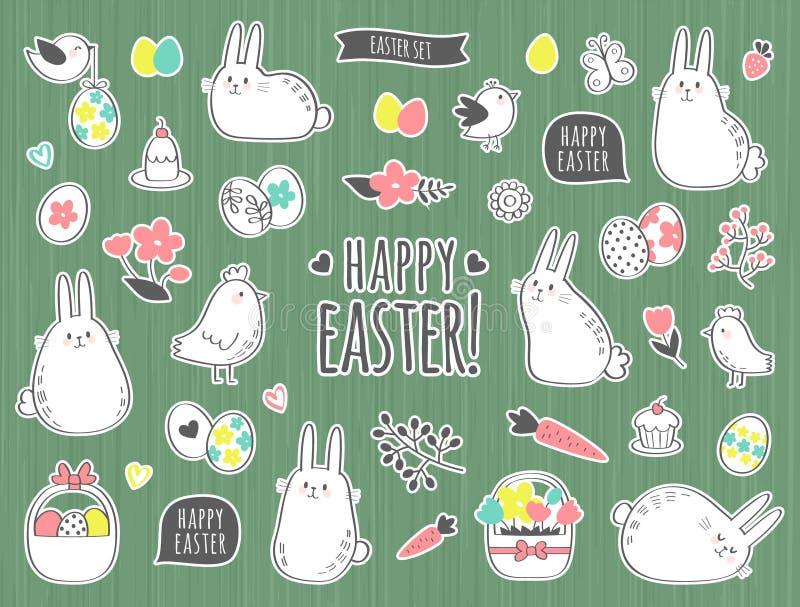 Διανυσματικό Πάσχα που τίθεται με τα χαριτωμένα λαγουδάκια, τα κοτόπουλα, τα λουλούδια και τα αυγά διανυσματική απεικόνιση
