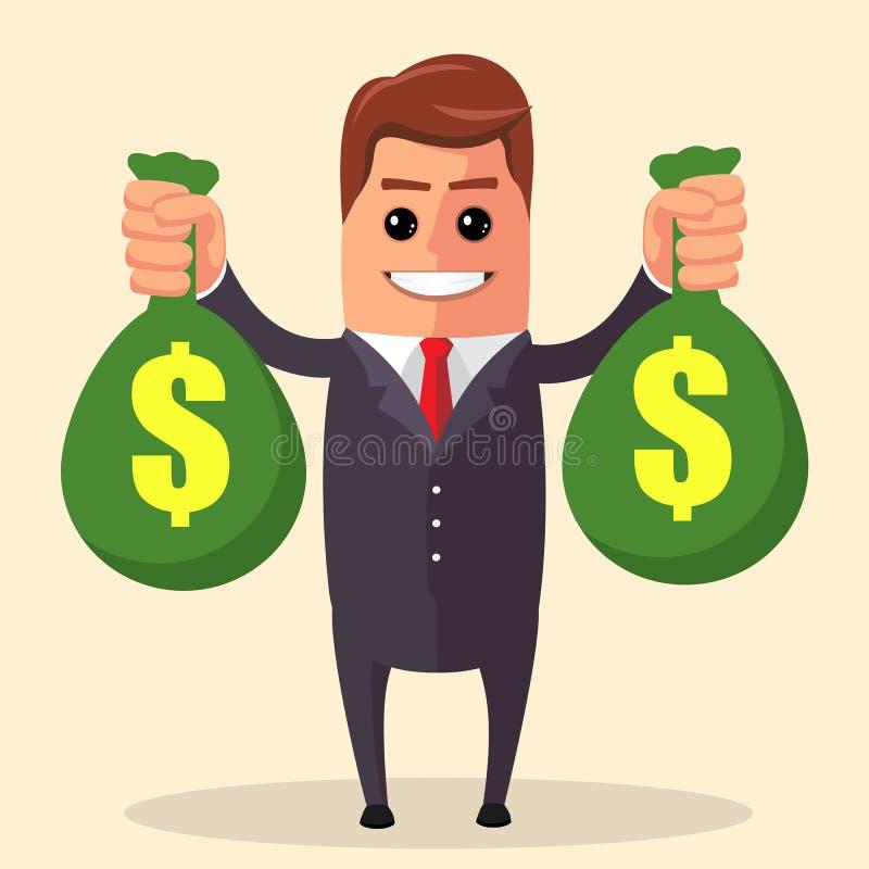 Διανυσματικό πέταγμα επιχειρηματιών Χαρακτήρας διευθυντών ως έξοχο ήρωα επίπεδος διανυσματική απεικόνιση
