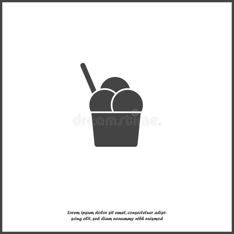 Διανυσματικό παγωτό εικονιδίων στο διαφανές υπόβαθρο Απεικόνιση παγωτού απομονωμένο στο λευκό υπόβαθρο διανυσματική απεικόνιση