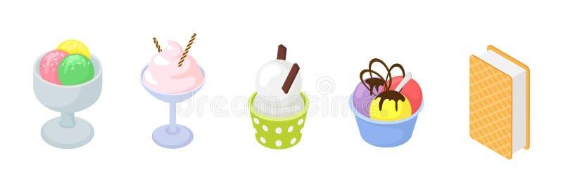 Διανυσματικό παγωτό παγωτού στον κώνο με τη βανίλια σοκολάτας και παγωμένο επιδόρπιο κορφολόγων στην καραμέλα τήξης απεικόνισης σ απεικόνιση αποθεμάτων
