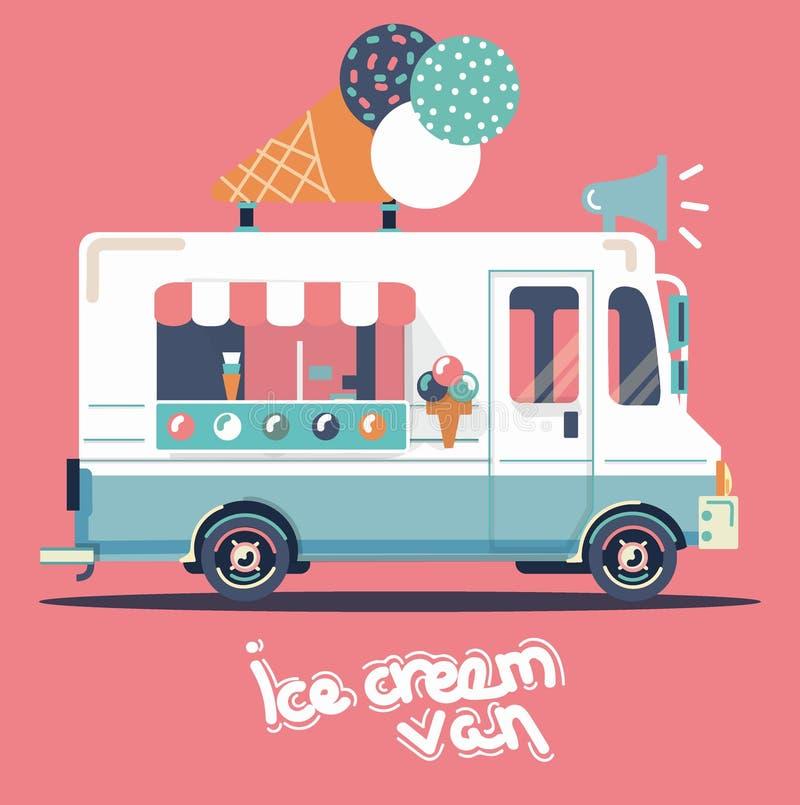 Διανυσματικό παγωτό φορτηγών διανυσματική απεικόνιση
