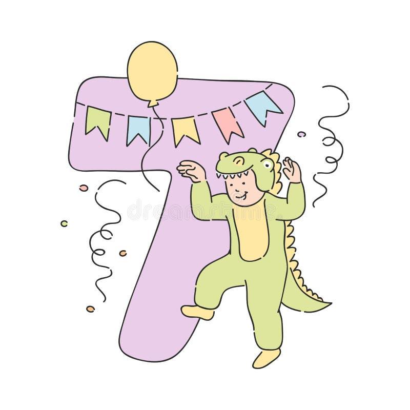 Διανυσματικό παιδί στο κοστούμι αριθμός 7 επτά κροκοδείλων διανυσματική απεικόνιση