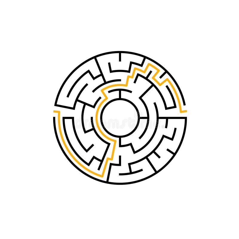 Διανυσματικό παιχνίδι λαβύρινθων λαβυρίνθου κύκλων Στρογγυλός κυκλικός λαβύρινθος γρίφων με τη λύση Σύνθετο σχέδιο labyrunth ελεύθερη απεικόνιση δικαιώματος