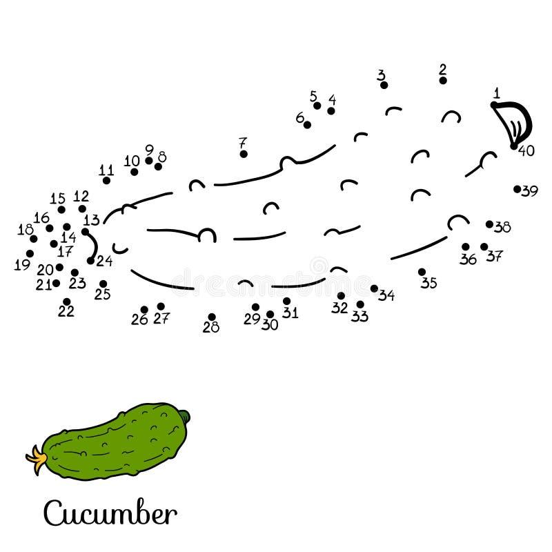 Διανυσματικό παιχνίδι αριθμών: φρούτα και λαχανικά (αγγούρι) διανυσματική απεικόνιση