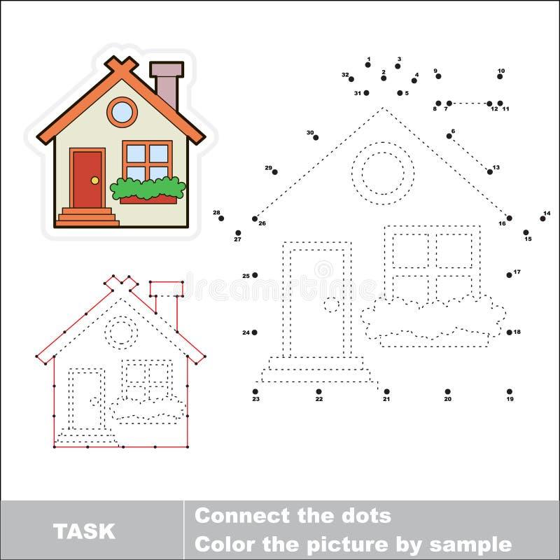 Διανυσματικό παιχνίδι αριθμών Χαριτωμένο σπίτι που επισημαίνεται διανυσματική απεικόνιση