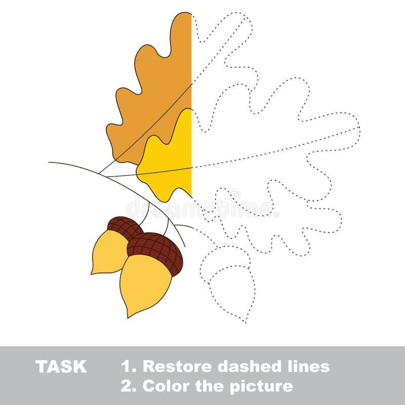 Διανυσματικό παιχνίδι ιχνών Βαλανιδιά που χρωματίζεται διανυσματική απεικόνιση