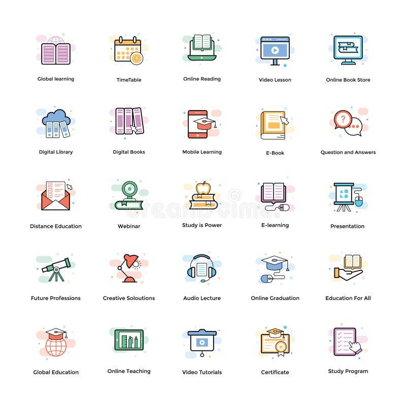 Διανυσματικό πακέτο εικονιδίων Elearning ελεύθερη απεικόνιση δικαιώματος