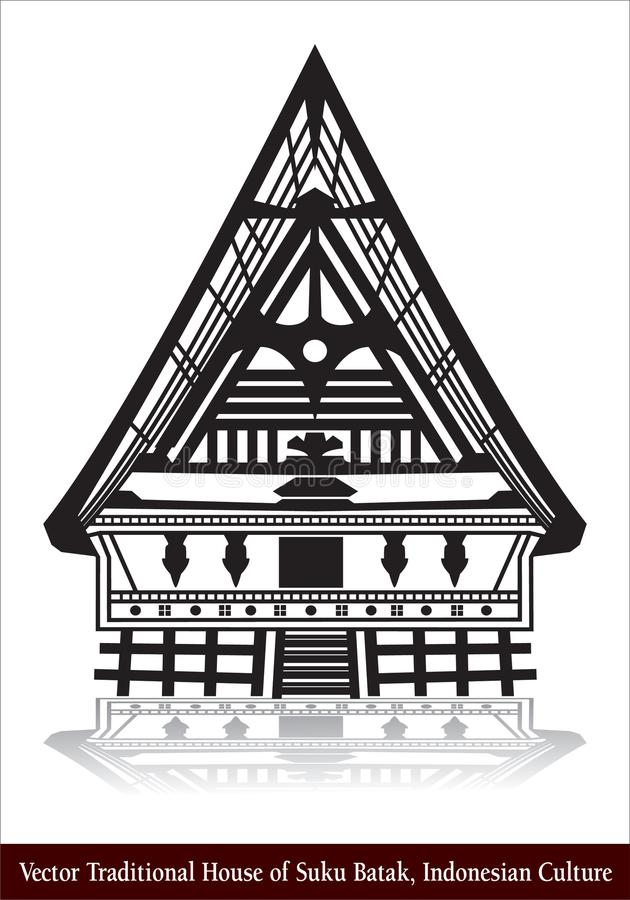 Διανυσματικό παραδοσιακό σπίτι Suku Batak, ινδονησιακός πολιτισμός διανυσματική απεικόνιση