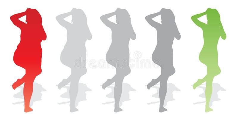 Διανυσματικό παχύ υπέρβαρο παχύσαρκο θηλυκό εναντίον του λεπτού κατάλληλου υγιούς σώματος απεικόνιση αποθεμάτων