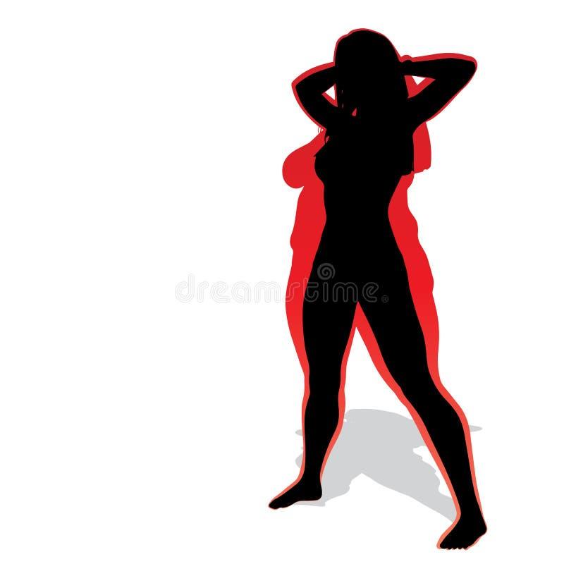 Διανυσματικό παχύ υπέρβαρο παχύσαρκο θηλυκό εναντίον του λεπτού κατάλληλου υγιούς σώματος διανυσματική απεικόνιση
